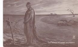 MILITAIRE CARTE  PATRIOTIQUE ,,, LA  FRANCE  PLEURE SES  MORTS ,,,,TBE - Heimat