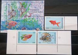 Uzbekistan, 2010, Mi. 911-13, 914-15 (bl. 58), Sc. 635-38, SG 745-48, Aquarium Fish, MNH - Uzbekistan