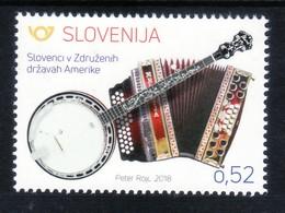 3333 Slowenien Slovenia 2018 ** MNH Music Instrument Diatonic Accordion Banjo  Diatonische Harmonika Banjo - Musik