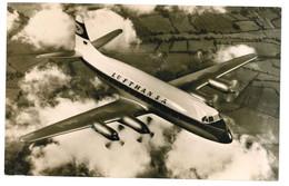 """AEREO - PLANE -  LUFTHANSA  """"VISCOUNT 814"""" - CARTOLINA VIAGGIATA - 1946-....: Era Moderna"""