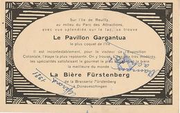 PARIS - EXPOSITION COLONIALE - PAVILLON GARGANTUA - BIERE FÜRSTENBERG (CARTE PUBLICITAIRE) - Tentoonstellingen