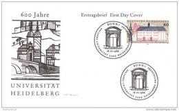 Bund BRD Germany Künstler FDC 1299 Universität Heidelberg 600 Jahre (006237) - BRD