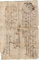 VP13.288 - Cachet Généralité De LIMOGES - Acte De 1749 - RUELLE SUR TOUVRE - Obligation à Déchiffrer - Seals Of Generality