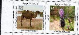 MOROCCO, 2018, MNH, FAUNA, FLORA, CAMELS, FLOWERS, 2v - Postzegels