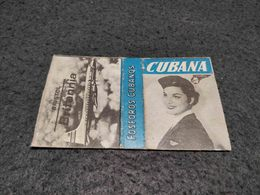 ANTIQUE MATCHBOX MATCHES LABEL ADVERTISING CUBANA AIRLINES W/ BRISTOL BRITANNIA PLANE CUBA - Boîtes D'allumettes