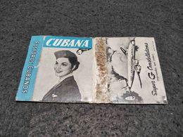 ANTIQUE MATCHBOX MATCHES LABEL ADVERTISING CUBANA AIRLINES W/ SUPER G CONSTELLATIONS PLANE CUBA - Luciferdoosjes