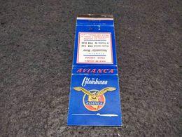 ANTIQUE MATCHBOX MATCHES LABEL ADVERTISING AVIANCA AIRLINES COLOMBIA - Cajas De Cerillas