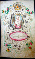 CANIVET MANUEL XVIII° SAINT ETIENNE SANTE STEFIANUS CANIVET DECOUPE ET PEINT SUR VELIN  9 X 5,5 CM - Imágenes Religiosas