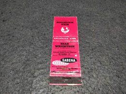 ANTIQUE MATCHBOX MATCHES LABEL ADVERTISING SABENA AIRLINES BELGIUM Nº3 - Boîtes D'allumettes