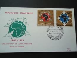 RWANDA FDC 1973 UNITE AFRICAINE - 1970-79: FDC
