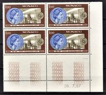 MONACO 1967 / BLOC DE 4 TP  / N° 732 NEUFS  ** COIN DE FEUILLE / DATE - Unused Stamps