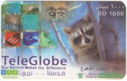 SUDAN A-011 Prepaid TeleGlobe - Animal, Raccoon - Used - Sudan