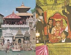 2 CPSM 9X14  Du NEPAL - HOTEL SHANKER - TEMPLE Of PASUPATI NATH KATMANDU - Népal