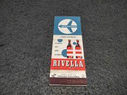 ANTIQUE MATCHBOX MATCHES LABEL ADVERTISING SWISSAIR AIRLINES W/ RIVELLA ADVERTISING SWITZERLAND - Luciferdoosjes