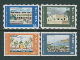 MAURITIUS 1985: Cpl Set Of 4 MNH Stamps: Al Aqsa Mosque, Town Hall, Etc MNH - Mauritius (1968-...)