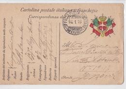 CARTOLINA POSTALE ITALIANA IN FRANCHIGIA CORRISPONDENZA DEL R.ESERCITO VG PER GENOVA AUTENTICA 100% - Posta