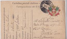 CARTOLINA POSTALE ITALIANA IN FRANCHIGIA CORRISPONDENZA DEL R.ESERCITO VG PER PIEVE DI TECO AUTENTICA 100% - Posta