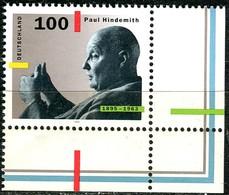 A12-37-4) BRD - Mi 1827 ECKE REU - ** Postfrisch (A) - 100Pf  Paul Hindemith - Unused Stamps