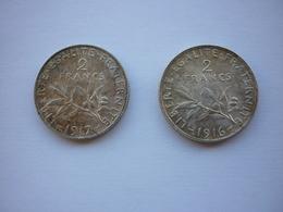 Pièces 2 Francs Argent , 1916 Et 1917 , Semeuse , Roty . - I. 2 Francs