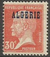 Algeria - 1924 Pasteur Overprint 30c MH *   Sc 14 - Algeria (1924-1962)