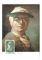 CARTE TIMBRE Peinture Et Philatélie à LYON (69). J.B. CHARDIN (1699-1779). Portrait Du Peintre Par Lui-même..1956 - Cartas Máxima