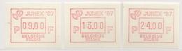 """PIA - BEL - 1987 -  Tps De Distributeurs : """"JUNEX 87""""- Expo Phil. à Couvin  - (Yv 15) - Belgio"""