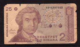 Zagreb, 1991  -  25 Kroatische Dinar  -  Siehe Scan  (Bn Cro 01) - Kroatien