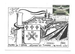 CARTE TIMBRE..JOURNEE Du TIMBRE à FLERS De L'ORNE (61), Service Aéropostal De Nuit..1959 - Cartes-Maximum