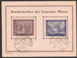 SBZ 198/9 Leipziger Messe MM 1948 Gedenkblatt, Provisorium Russischer Text (zena) Preis 2 Rubel, 75 Kopeken, Ersttag - Zone Soviétique