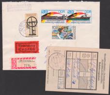 Mukran - Kleipeda UdSSR Fährverbindung DDR 3052/3 ZDr.  Portogenau, Eil-R-Brief Mit Einl.-Schein - DDR