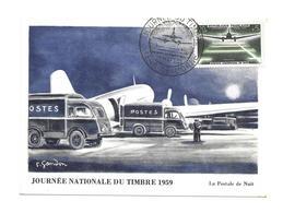CARTE TIMBRE..JOURNEE Du TIMBRE à FLERS De L'ORNE (61), La Postale De Nuit..1959 - Cartas Máxima