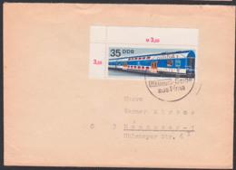 Schienefahrzeuge Der DDR, 35 Pf Eckrandstück DDR 1848 Nach Hannover Aus Pirna SoSt. REGAN Seide - Cartas