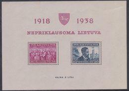Lituanie BF N° 1 XX 20ème Anniversaire De L'Indépendance,le Bloc Sans Charnière, TB - Lithuania