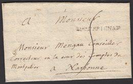 PYRENEES ORIENTALES: Pli De PERPIGNAN De 1734 En Port Du Avec Marque Linéaire DEPERPIGNAN Pour NARBONNE - Marcophilie (Lettres)