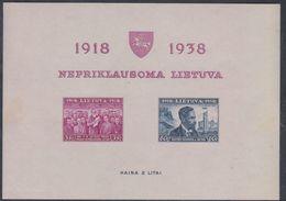 Lituanie BF N° 1 Nd XX 20ème Anniversaire De L'Indépendance, Le Bloc Non Dentelé Sans Charnière, TB - Lituanie