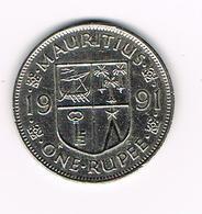 &  MAURITIUS  1 RUPEE   1991 - Maurice