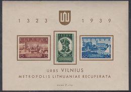 Lituanie BF N° 2 XX Commémoration Du Retour De Vilna à La Lituanie, Le Bloc Sans Charnière, TB - Lituanie