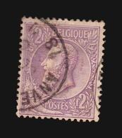 O/Used-N° 52b, 2F Violet Sur Lilas Pâle, S.M. Le Roi Léopold II De Profil à Gauche - 1884-1891 Leopold II