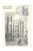 CARTE TIMBRE..Premier Jour De BOURGES (18) En 1965.. Cathédrale De Bourges..dessin De André SPITZ - Maximumkarten