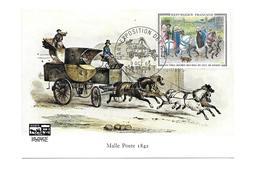 CARTE TIMBRE..CAR.EXPOSITION Des PTT à ALENCON (61) En 1965.. Malle Poste 1842 - Cartes-Maximum