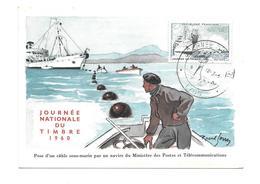 CARTE TIMBRE..Journée Du Timbre à LYON (69) En 1960. Pose D'un Câble Sous-marin Par Navire Du Ministère Des Postes Et Té - Maximumkarten