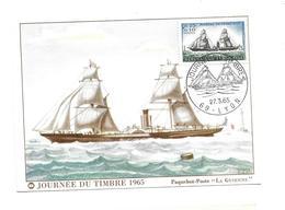 """CARTE TIMBRE..Journée Du Timbre à LYON (69) En 1965..Paquebot-Poste """" LA GUIENNE"""" - Maximum Cards"""