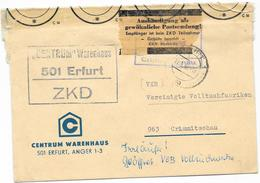 DDR ZKD Brief Kontrolle Aushändigung Als Gewöhnliche Postsendung, Irrläufer, CENTRUM Warenhaus Erfurt 1966 - DDR