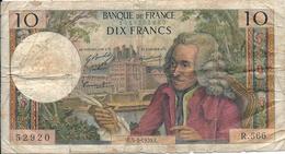 """N. 1 Banconota - BANQE  DE  FRANCE  -  FRANCHI 10  - """"VOLTAIRE"""" -  Anno 1970 - 1871-1952 Antichi Franchi Circolanti Nel XX Secolo"""
