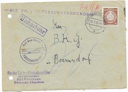 DDR Dienst A Brief M. Mi.16, Rat Des Kreises Fürstenberg Oder 1955, Postzustellurkunde + Nachgebühr - DDR