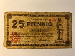 Allemagne Notgeld Koln 25 Pfennig - [ 3] 1918-1933 : République De Weimar