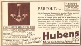 """PUB  LUMINAIRES LUSTRES  """"ART DECO """" """" HUBENS """"   1934 ( 12 ) - Luminaires"""