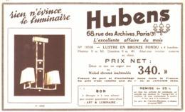 """PUB  LUMINAIRES LUSTRES  """"ART DECO """" """" HUBENS """"   1934 ( 13 ) - Luminaires"""