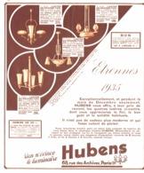 """PUB  LUMINAIRES LUSTRES  """"ART DECO """" """" HUBENS """"   1934 ( 14 ) - Luminaires"""