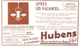 "PUB  LUMINAIRES LUSTRES  ""ART DECO "" "" HUBENS ""   1934 ( 15 ) - Lamps"